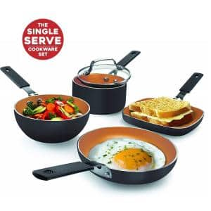 5 Piece Ti-Ceramic Coating Mini Aluminum Space Spacing Single Serving StackMaster Cookware Set