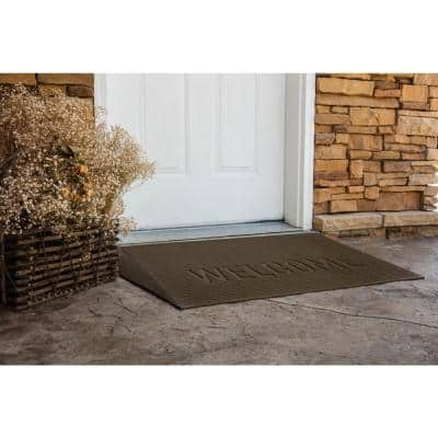 TRANSITIONS Tan 43 in. W x 25 in. L x 2.5 in. H Rubber Angled Entry Door Threshold Welcome Mat