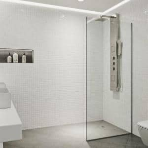 Glass Warehouse 28 In X 78 In Frameless Fixed Shower Door In Brushed Nickel Without Handle Gw Sfp 28 Bn The Home Depot