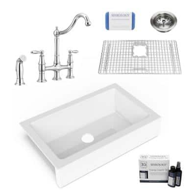 Elevate All-in-One Quick-Fit Fireclay 33.85 in. Single Bowl Undermount Farmhouse Kitchen Sink with Pfister Bridge Faucet