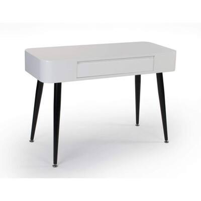 40 in. Rectangular Black/White 1-Drawer Wood Writing Desk