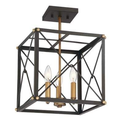 Open Cube 13 in. 3-Light Vintage Bronze Semi-Flush Mount