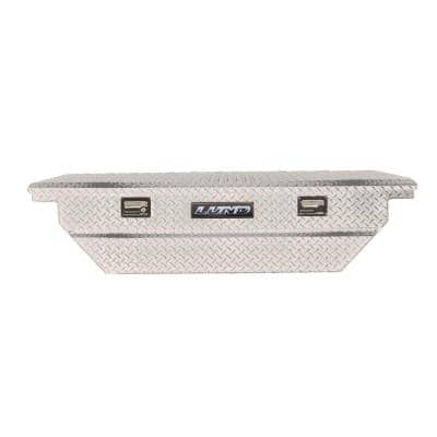 63 in Low Profile Diamond Plate Aluminum Full Size Crossbed Truck Tool Box with mounting hardware and keys, Silver