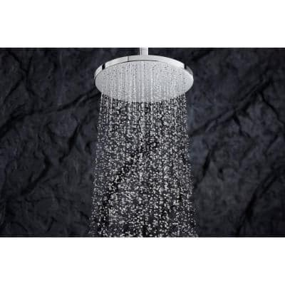 1-Spray 10.4 in. Single Ceiling Mount Fixed Rain Shower Head in Polished Chrome