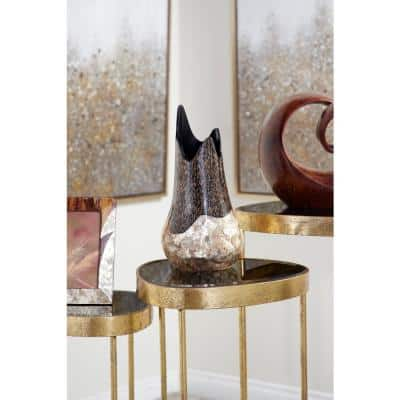 13.5 in. Gold Capiz Shell and Vervain Inlay Resin Decorative Vase