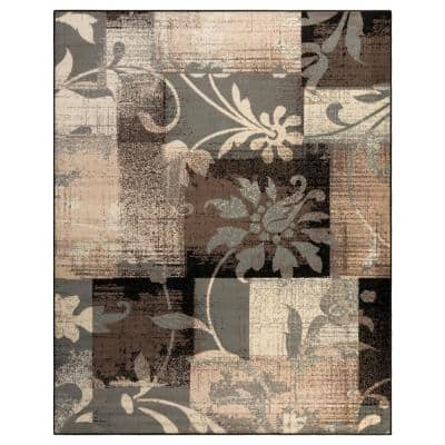 Pastiche Chocolate 8 ft. x 10 ft. Rectangle Floral Patchwork Geometric Polypropylene Area Rug