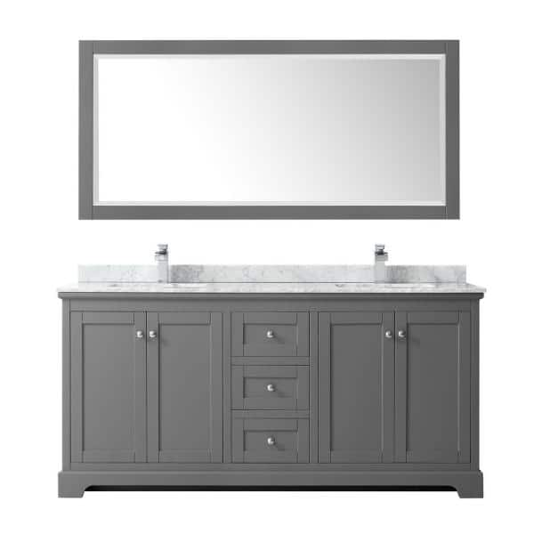 Wyndham Collection Avery 72 In W X 22, 72 Inch Bathroom Vanity Top
