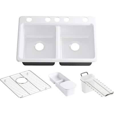 Riverby Undermount Cast Iron 33 in. 5-Hole Double Bowl Kitchen Sink Kit in White with Accessories