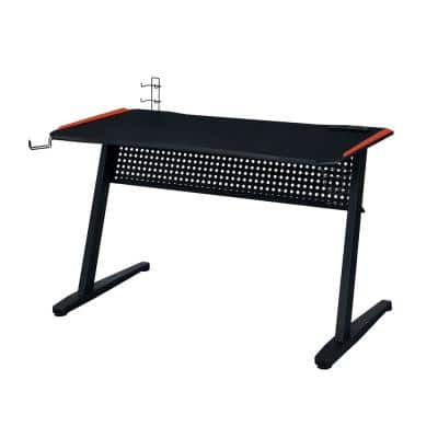 Dragi 24 in. Rectangular Black and Red Finish with MDF, PVC Paper, Metal Materials Gaming Table with 2-Controller Racks