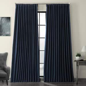 Indigo Blue Faux Linen Extra Wide Blackout Room Darkening Curtain - 100 in. W X 84 in. L (1 Panel)