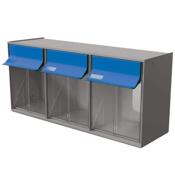 Grey//Blue Ideal Security TB32GB Inc Plastic Storage Stackable Organizer for Everything from DIY to Crafts Tilt G2-3 Bins