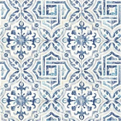Sonoma Blue Spanish Tile Paper Pre-Pasted Wallpaper Roll (Covers 56.4 Sq. Ft.)
