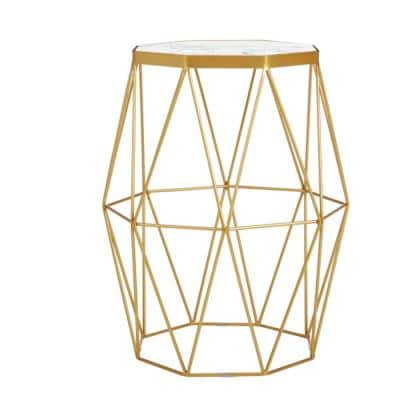 Mettler Hexagonal Gold Metal Accent Table with Geometric Base and Marble Top (16 in. W x 20 in. H)