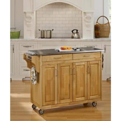 Create-a-Cart Natural Kitchen Cart With Stainless Top