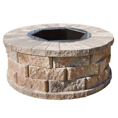 40 in. W x 16 in. H Rockwall Round Fire Pit Kit - Palomino