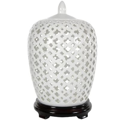 Oriental Furniture 13.25 in. Porcelain Decorative Vase in White