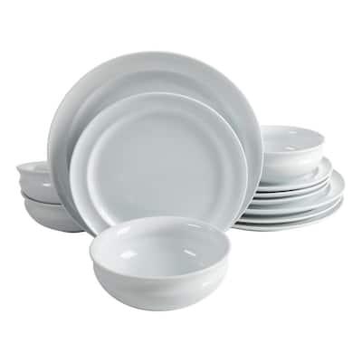 12-Piece Rim Pattern White Porcelain Dinnerware Set (Service for 4)
