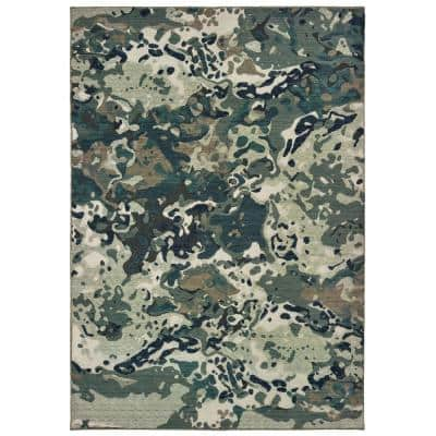 Matthew Blue/Grey 5 ft. x 8 ft. Abstract Area Rug