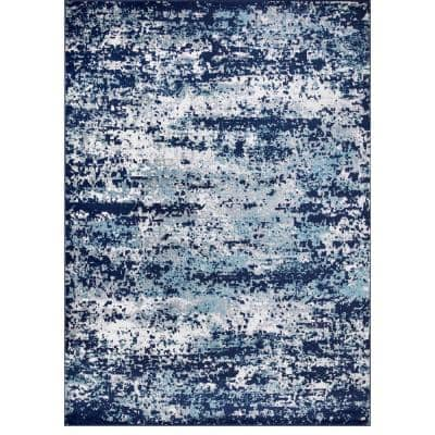 Jefferson Collection Abstract Navy 5 ft. x 7 ft. Area Rug