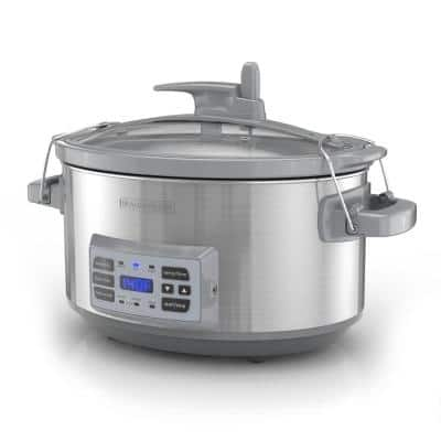7 Qt. Stainless Steel Electric Slow Cooker with Temperature Probe and Precision Sous-Vide