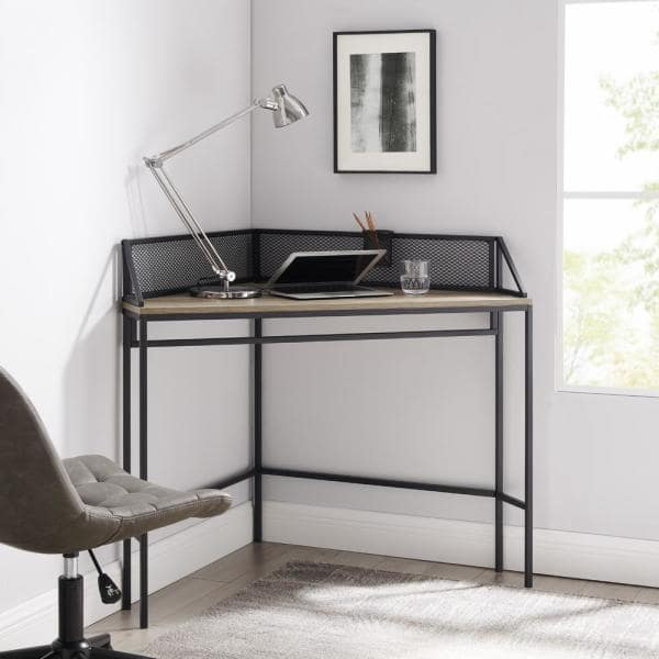 Welwick Designs 42 in. Corner Grey Wash Computer Desks with Cable Management | The Home Depot