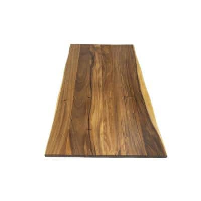 Unfinished Saman 3.5 ft. L x 42 in. D x 1.5 in. T Butcher Block Island Countertop with 2-Live Edges