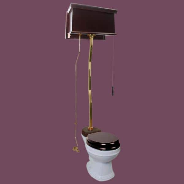 Renovators Supply Manufacturing Alwick High Tank Toilet 2 Piece 1 6 Gpf Single Flush Round Bowl In White Dark Oak Tank And Brass Pipes Seat Not Included 20141 The Home Depot