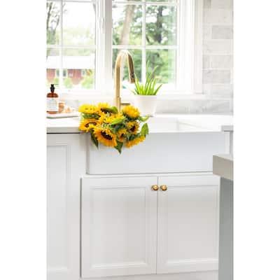 Turner Farmhouse Fireclay 30 in. Single Bowl Kitchen Sink in Crisp White