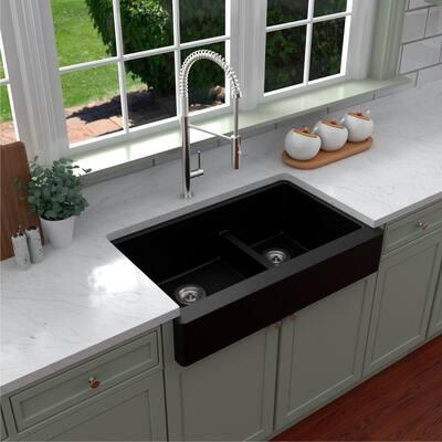 Retrofit Farmhouse/Apron-Front Quartz Composite 34 in. Double Offset Bowl Kitchen Sink in Black