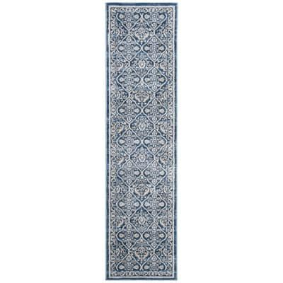 Brentwood Navy/Light Gray 2 ft. x 6 ft. Geometric Floral Border Runner Rug