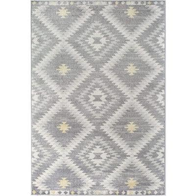 Soleil Kilim Gray 8 ft. x 12 ft. Tribal Moroccan Area Rug
