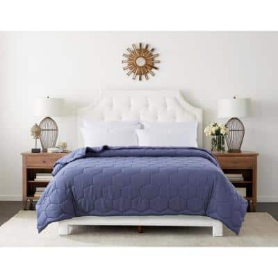 Honeycomb Color Contrast Stitched Blue Granite/Blue Depths Microfber Full/Queen Blanket