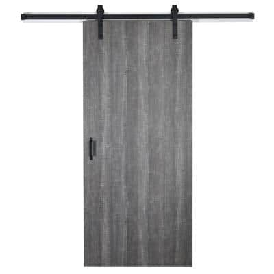 37 in. x 84 in. Weathered Char 8204-16 Solid Core Wood Flush Barn Door with Sliding Door Hardware Kit