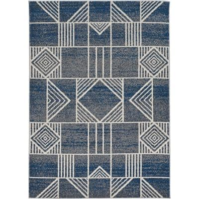 Lucia Blue Dimensions 2 ft. x 4 ft. Indoor/Outdoor Accent Rug