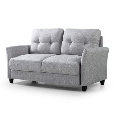 Ricardo 31.5 in. Soft Grey Polyester 2-Seater Loveseat with Removable Cushions