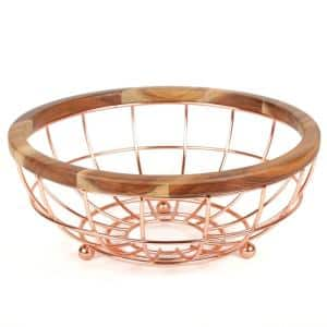 Deluxe Acacia Copper Plated Wood and Iron Wire Fruit Basket Fruit Bowl