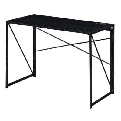Xtra 39.5 in. Rectangular Black Particle Board/Metal Foldable Writing Desk with Charging Station