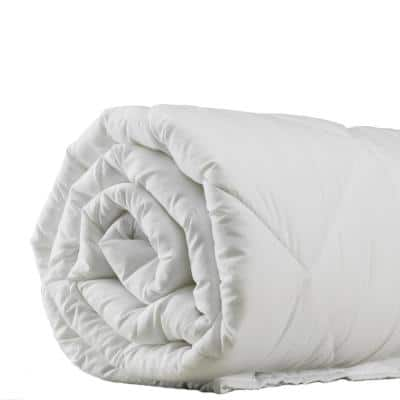 A1HC 100% 92 in. X 96 in. Pure New Zealand Wool 200 GSM White Organic Cotton Cover Quilted Blanket