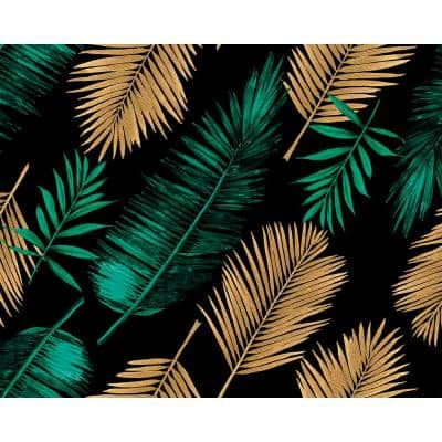 Emerald Green and Gold Palm Leaves Wall Mural
