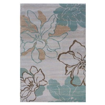 Linon Home Decor Milan Collection Ivory And Turquoise 2 Ft X 3 Ft Indoor Area Rug Rug Mn0523 The Home Depot