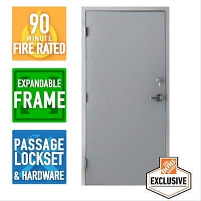 36 in. x 84 in. Right Hand Galvanneal Steel Mill Primed Commercial Door Kit with 90 Minute Fire Rating Adjustable Frame