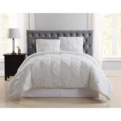 Pleated 2-Piece Ivory Twin XL Duvet Cover Set