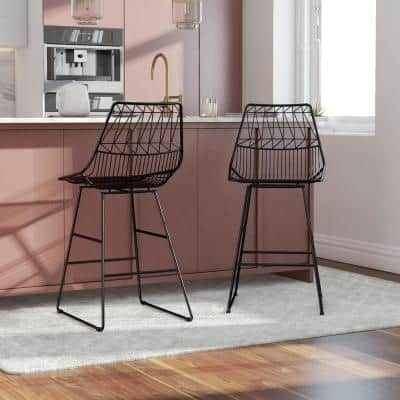Astrid Black Metal Counter Stool, Set of 1