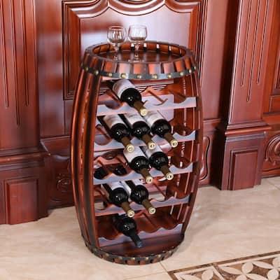 Rustic 23 Bottles Barrel Shaped Wooden Wine Rack