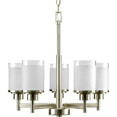 Alexa Collection 5-Light Brushed Nickel Etched Linen With Clear Edge Glass Modern Chandelier Light