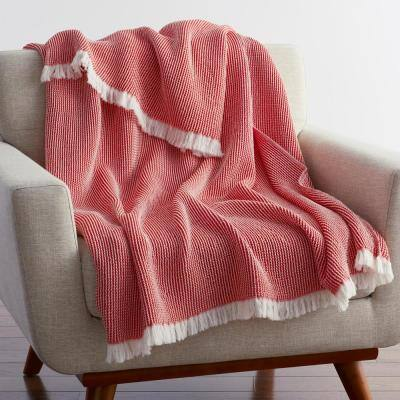 Ellington Apple Red Cotton Throw Blanket