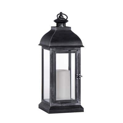 15.7 in. Black Indoor/Outdoor Resin and glass Lamp with 3 in. x 5 in. Flameless Candle