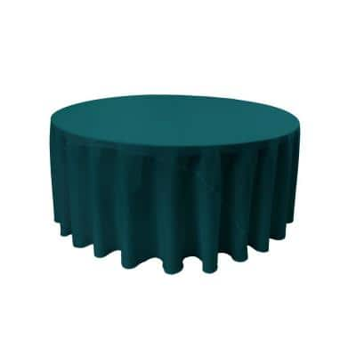 132 in. Dark Teal Polyester Poplin Round Tablecloth