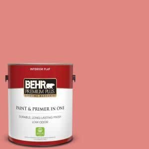 Behr Premium Plus 1 Gal Ppu1 04a Watermelon Punch Flat Low Odor Interior Paint And Primer In One 130001 The Home Depot