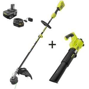 ONE+ 18V Cordless Attachment Capable Brushless String Trimmer and Leaf Blower - 4.0 Ah Battery and Charger Included